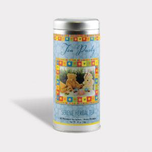 Customizable Healthy Tea Party Tea in an Easy-Open Silver Tall Tin with Pyramid Tea Sachets in a flavor of your choice