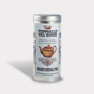 Customizable Private Label All-Natural Healthy Tea Room Tea in an Easy-Open Silver Tall Tin with 12 Pyramid Tea Sachets in a flavor of your choice