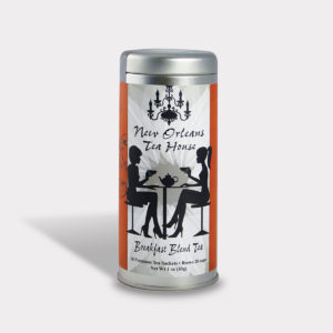 Customizable Private Label All-Natural Healthy Tea Room New Orleans in an Easy-Open Silver Tall Tin with 12 Pyramid Tea Sachets in a flavor of your choice