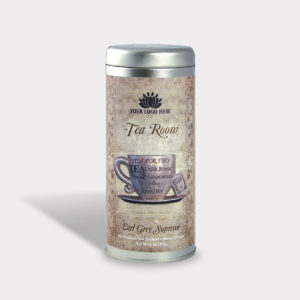 Customizable Private Label All-Natural Healthy Tea Room Tea for Two Tea in an Easy-Open Silver Tall Tin with 12 Pyramid Tea Sachets in a flavor of your choice