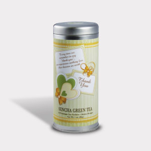 Customizable Private Label Healthy Gratitude and Appreciation Tea in an Easy-Open Silver Tall Tin with 12 Pyramid Tea Sachets in a flavor of your choice