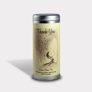 Customizable Private Label All-Natural Healthy Gratitude Thank You Moon Tea in an Easy-Open Silver Tall Tin with 12 Pyramid Tea Sachets in a flavor of your choice