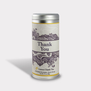 Customizable Private Label All-Natural Healthy Gratitude Thank You Florish Tea in an Easy-Open Silver Tall Tin with 12 Pyramid Tea Sachets in a flavor of your choice