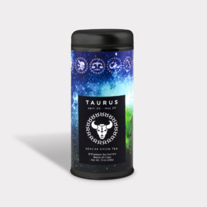 Customizable Private Label Healthy Astrology Series Taurus Tea in an Easy-Open Silver Tall Tin with 12 Pyramid Tea Sachets in a flavor of your choice