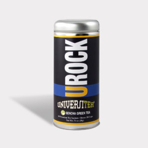 Customizable Private Label Healthy Universitea U Rock Tea in an Easy-Open Silver Tall Tin with 12 Pyramid Tea Sachets