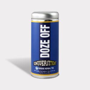 Customizable Private Label Healthy Universitea Doze Off Tea in an Easy-Open Silver Tall Tin with 12 Pyramid Tea Sachets