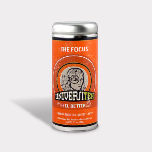 Customizable Private Label Healthy Universitea Focus Tea in an Easy-Open Silver Tall Tin with 12 Pyramid Tea Sachets