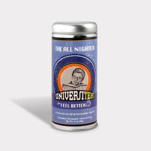 Customizable Private Label Healthy Universitea All Nighter Tea in an Easy-Open Silver Tall Tin with 12 Pyramid Tea Sachets