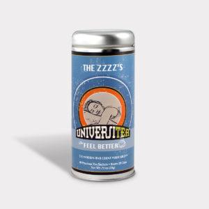 Customizable Private Label Healthy Universitea Sleep Tea in an Easy-Open Silver Tall Tin with 12 Pyramid Tea Sachets
