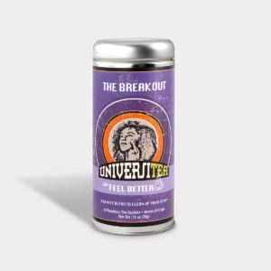 Customizable Private Label Healthy Universitea Breakout Detox Tea in an Easy-Open Silver Tall Tin with 12 Pyramid Tea Sachets