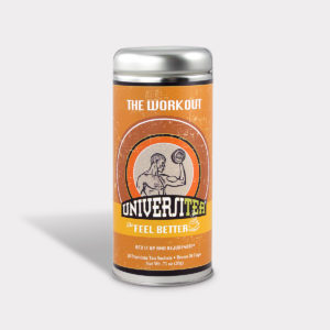 Customizable Private Label Healthy Universitea Workout Recovery Tea in an Easy-Open Silver Tall Tin with 12 Pyramid Tea Sachets