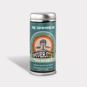 Customizable Private Label Healthy Universitea Tummyache Tea in an Easy-Open Silver Tall Tin with 12 Pyramid Tea Sachets