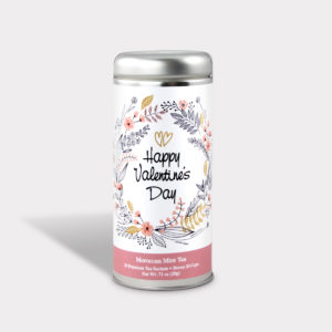 Customizable Private Label All-Natural Healthy Valentine's Day Tea in an Easy-Open Silver Tall Tin with 12 Pyramid Tea Sachets in a flavor of your choice