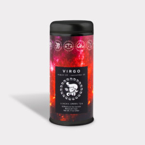 Customizable Private Label Healthy Astrology Series Virgo Tea in an Easy-Open Silver Tall Tin with 12 Pyramid Tea Sachets in a flavor of your choice