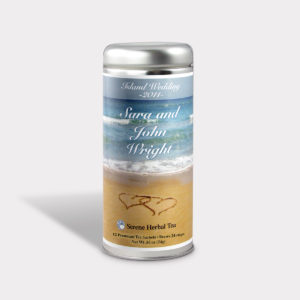 Customizable Private Label All-Natural Healthy Weddding Tea in an Easy-Open Silver Tall Tin with 12 Pyramid Tea Sachets in a flavor of your choice