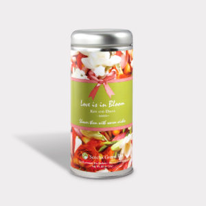 Customizable Private Label All-Natural Healthy Weddding Shower Tea in an Easy-Open Silver Tall Tin with 12 Pyramid Tea Sachets in a flavor of your choice