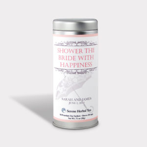 Customizable Private Label All-Natural Healthy Wedding Shower Tea in an Easy-Open Silver Tall Tin with 12 Pyramid Tea Sachets in a flavor of your choice