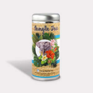 Customizable Private Label All-Natural Healthy Jungle Elephant Tea for Children in an Easy-Open Silver Tall Tin with 12 Pyramid Tea Sachets in a flavor of your choice
