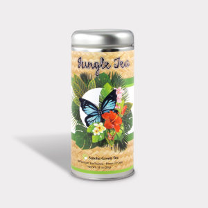 Customizable Private Label All-Natural Healthy Jungle Butterfly Tea for Children in an Easy-Open Silver Tall Tin with 12 Pyramid Tea Sachets in a flavor of your choice