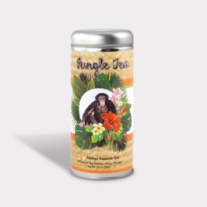 Customizable Private Label All-Natural Healthy Jungle Monkey Tea for Children in an Easy-Open Silver Tall Tin with 12 Pyramid Tea Sachets in a flavor of your choice