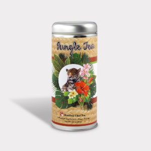 Customizable Private Label All-Natural Healthy Jungle Tiger Tea for Children in an Easy-Open Silver Tall Tin with 12 Pyramid Tea Sachets in a flavor of your choice