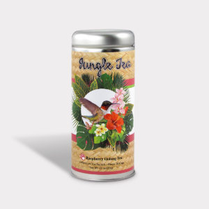 Customizable Private Label All-Natural Healthy Jungle Hummingbird Tea for Children in an Easy-Open Silver Tall Tin with 12 Pyramid Tea Sachets in a flavor of your choice