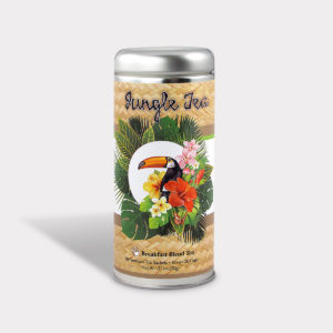 Customizable Private Label All-Natural Healthy Jungle Toucan Tea for Children in an Easy-Open Silver Tall Tin with 12 Pyramid Tea Sachets in a flavor of your choice