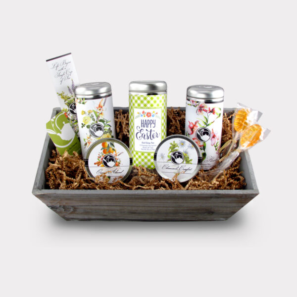 Healthy Customizable Large Easter Tea Gift Basket with 2 Honey Lollipop Stirrers