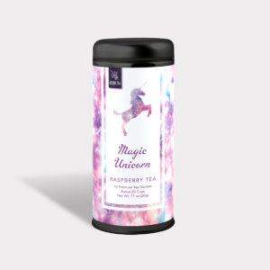 Customizable Private Label All-Natural Healthy Magic Unicorn Tea in an Easy-Open Silver Tall Tin with 12 Pyramid Tea Sachets in a flavor of your choice