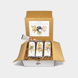 Botanical Tea Collection in the flavors Garden Therapy Herbal Blend, Orange Almond Black Tea, and Raspberry Oolong Tea Gift Box