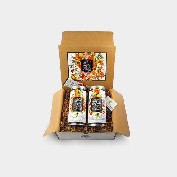 Fruity and Healthy Inspirational Fruit and Floral Orangle Almond Black Tea and Cinnamon Apple Blossom Herbal Tea Gift Box