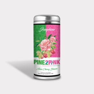 Customizable Private Label Healthy and Fragrant Pine 2 Pink Asian Cherry Blossom Floral Tea in an Easy-Open Silver Tall Tin with 12 Pyramid Tea Sachets for Breast Cancer Awareness and Fundraisers