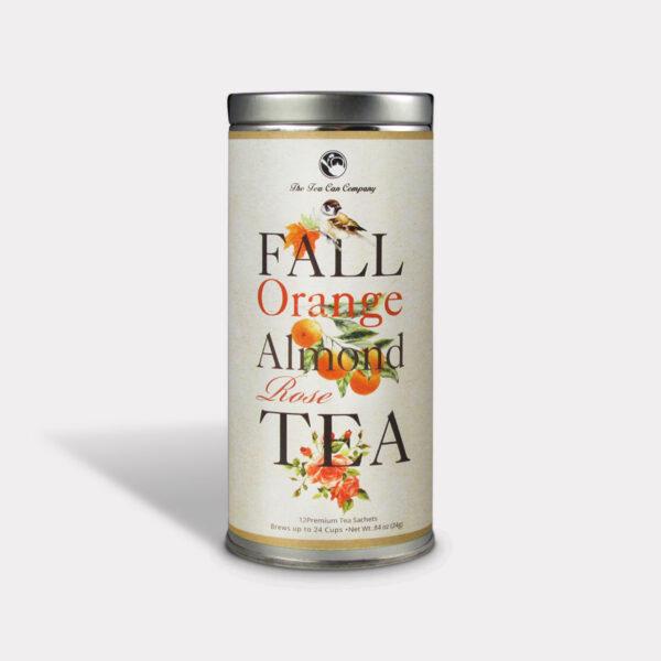 Healthy Fall Orange Almond Rose Tea in an Easy-Open Silver Tall Tin with 12 Pyramid Tea Sachets