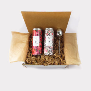 Hope and Joy Breat Cancer Fundraising Tea Set with Pink Hibiscus Flower Tea Skinny Tea, Pinkolicious Oolong Skinny Tea, and Stainless Steel Tea Infuser Gift Box