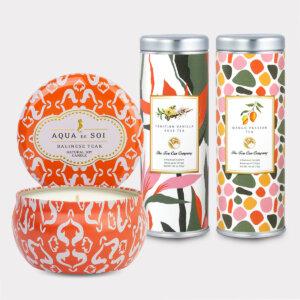 Balinese Teak Candle & Tea Gift Set