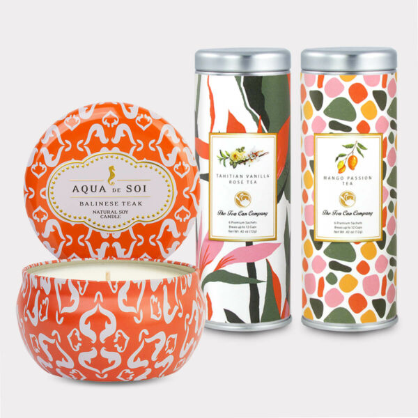 Aqua de Soi Balinese Teak Natural Soy Candle & Tahitian Vanilla Rose Tea and Mango Passion Tea Gift Set for Mother's Day, Valentine's Day, Summer, Birthdays, and other Holidays