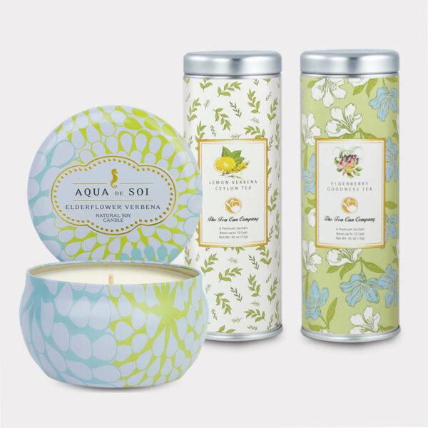 Elderflower Verbena Candle & Tea Gift Set