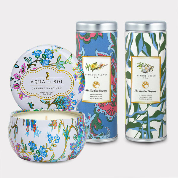 Aqua de Soi Jasmine Hyacith Natural Soy Candle & Hibiscus Flower Tea and Jasmine Green Tea Gift Set for Mother's Day, Valentine's Day, Summer, Birthdays, and other Holidays