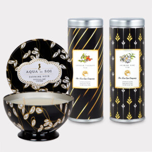 Aqua de Soi Jasmine Noir Natural Soy Candle & Garden Therapy Tea and Jasmine Vine Tea Gift Set for Mother's Day, Valentine's Day, Summer, Birthdays, and other Holidays