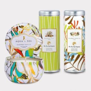 Aqua de Soi Kashmir Vanille Natural Soy Candle & Rooibos Chai Tea and Kashmir Vanilla Tea Gift Set for Mother's Day, Valentine's Day, Summer, Birthdays, and other Holidays