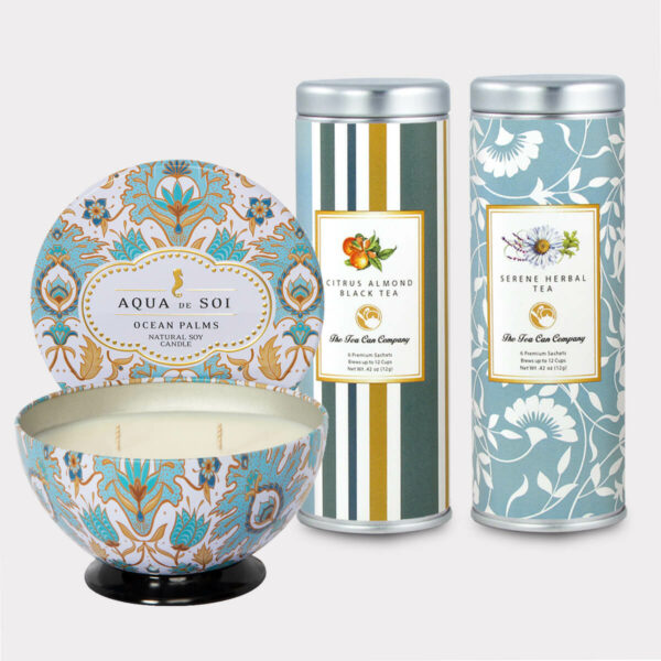 Aqua de Soi Ocean Palms Natural Soy Candle & Citrus Almond Black Tea and Serene Herbal Tea Gift Set for Mother's Day, Valentine's Day, Summer, Birthdays, and other Holidays