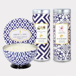 Santorini Breeze Candle & Tea Gift Set