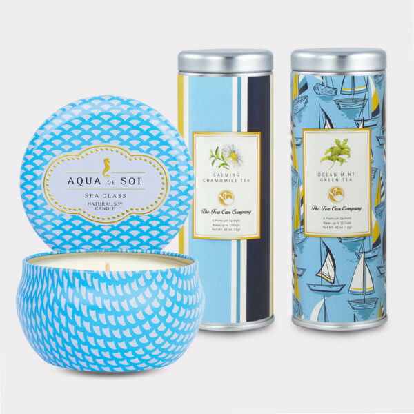 Aqua de Soi Sea Glass Natural Soy Candle & VCalming Chamomile Tea and Ocean Mint Green Tea Gift Set for Mother's Day, Valentine's Day, Summer, Birthdays, and other Holidays