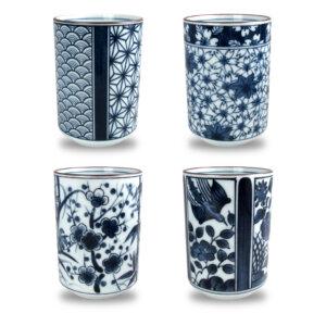 blue asian teacup set