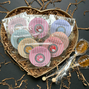 Sweet Large Candy Heart Cello Tea Samplers and 2 Honeycomb Lollipop Tea Sweetener Stirrers Gift Set for Mother's Day, Valentine's Day, Father's Day, Birthdays, and other Holidays