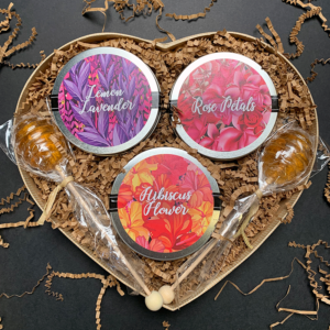 Floral Hearts For Her Lemon Lavender, Rose Petals, and Hibiscus Flower Mini Tins and 2 Honeycomb Lollipop Tea Sweeteners Gift Box Set for ello Tea Samplers and 2 Honeycomb Lollipop Tea Sweetener Stirrers Gift Set for Mother's Day, Valentine's Day, Birthdays, and other Holidays