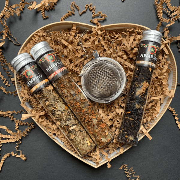 The Tea Can Company HempTea Joint Therapy, Hearty Cider, and Caramel Latea Test Tube Samplers with Stainless Steel Tea Infuser Heart Gift Set for Mother's Day, Father's Day, Valentine's Day, Birthdays, College, and other Holidays