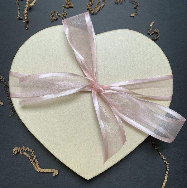 large pink ribbon tea heart
