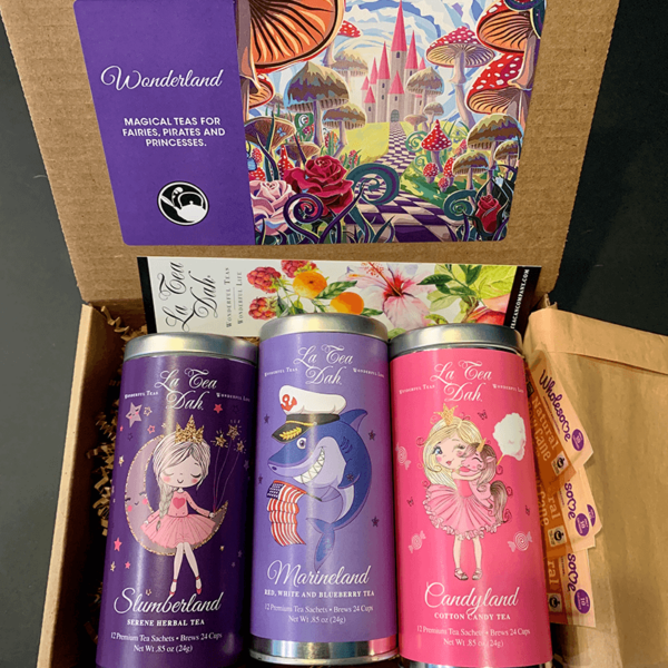 Healthy and Magical Wonderland Children's Tea Box in the flavors of Slumberland Seree Herbal, Marineland Red, White, and Blueberry, and Candyland Cotton Candy Tea for Boys and Girls
