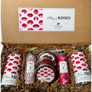 Healthy and Sweet Mugs and Kisses Gift Box Set with Raspberry Oolong and Spicy Rooibos Chai Tall Tin, Hope and Joy Pinkolicious Oolong Tea and Pink Hibiscus Flower Tea Skinny Tins, 3 Mini Tins, 2 Honeycomb Lollipop Tea Sweetener Stirrers, and 1 Stainless Steel Tea Infuser Care Package